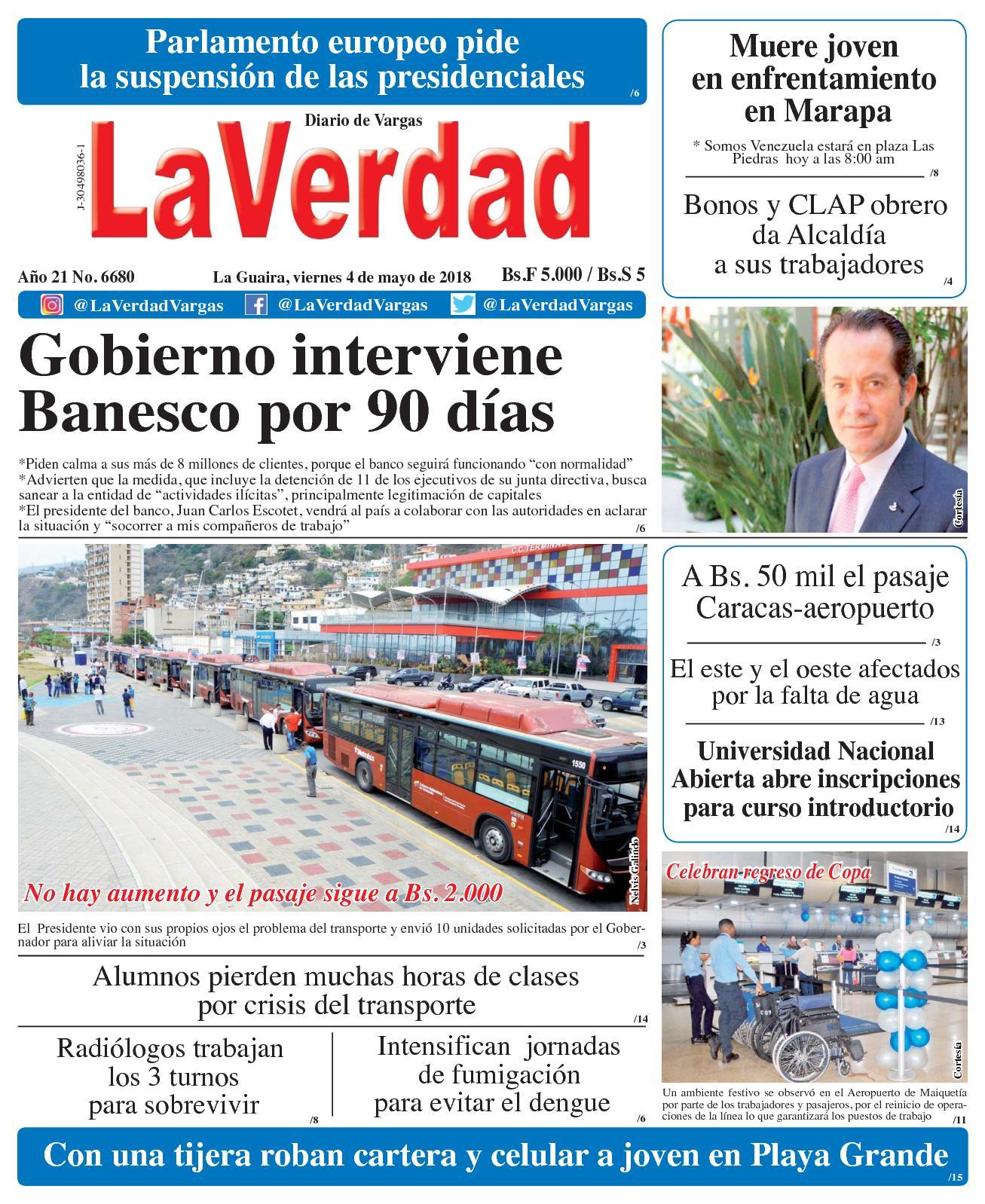 Calaméo - La Guaira, Viernes 4 De Mayo De 2018 Año 20 No 6680