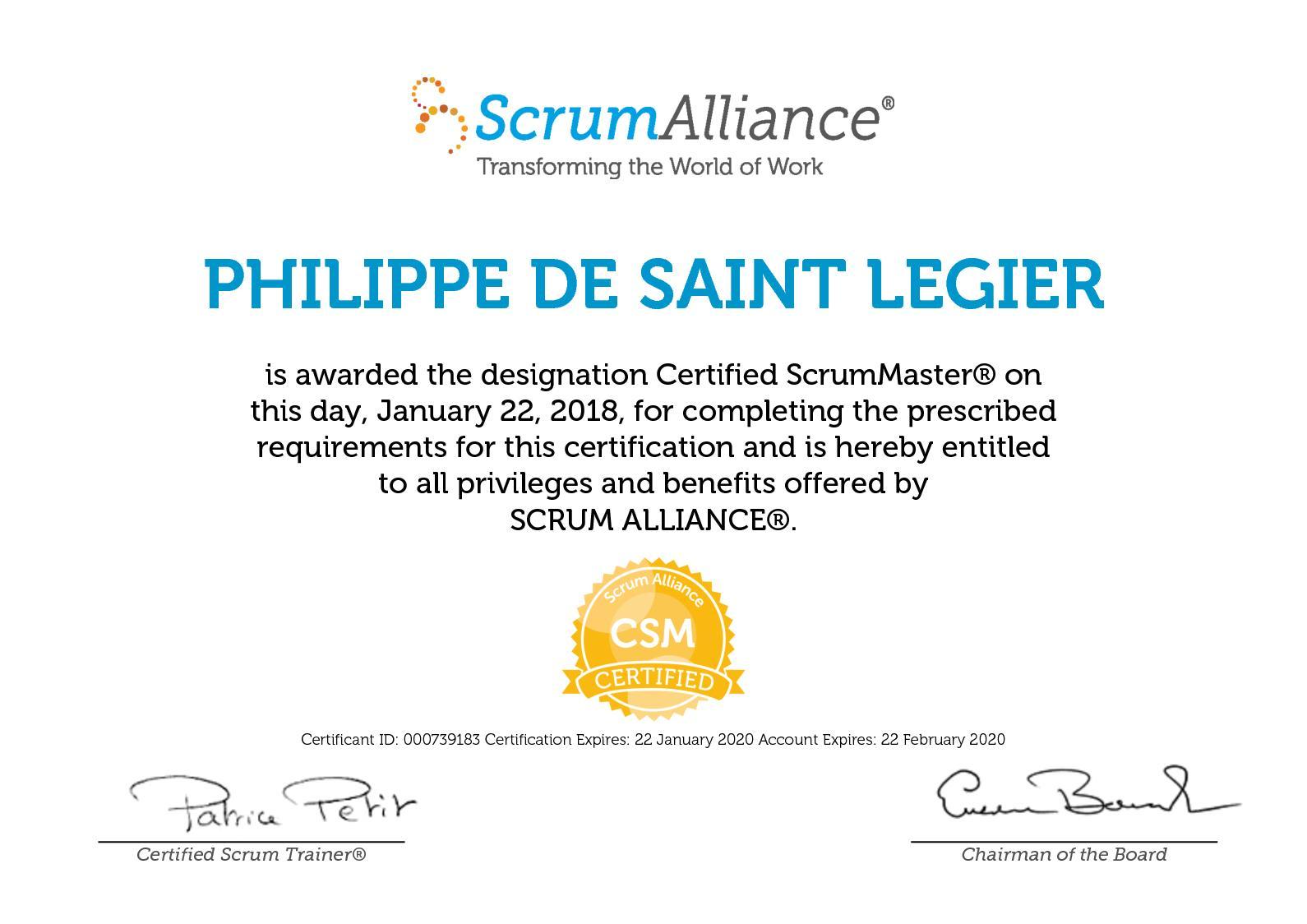 Calamo Philippe De Saint Legier Scrum Alliance Csm Certificate