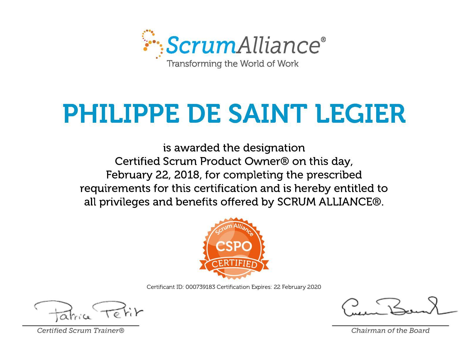 Calamo Philippe De Saint Legier Scrum Alliance Cspo Certificate