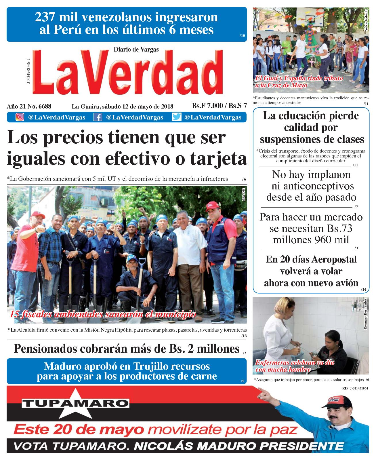Calaméo - La Guaira, sábado 12 de mayo de 2018. Año 20 No 6688