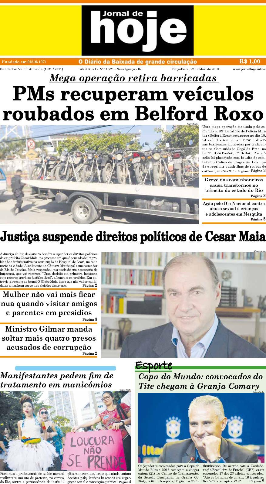 Jornal De Hoje 220518