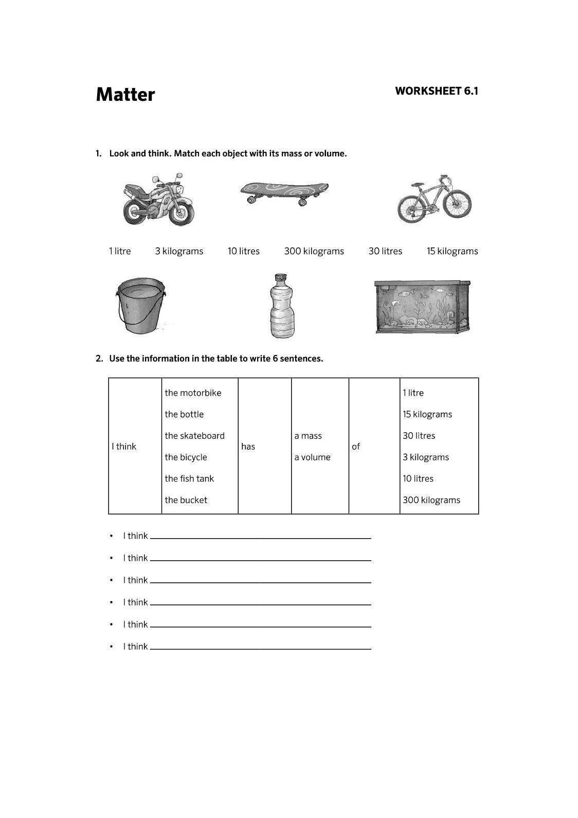 Worksheets Unit 6 NS 3º