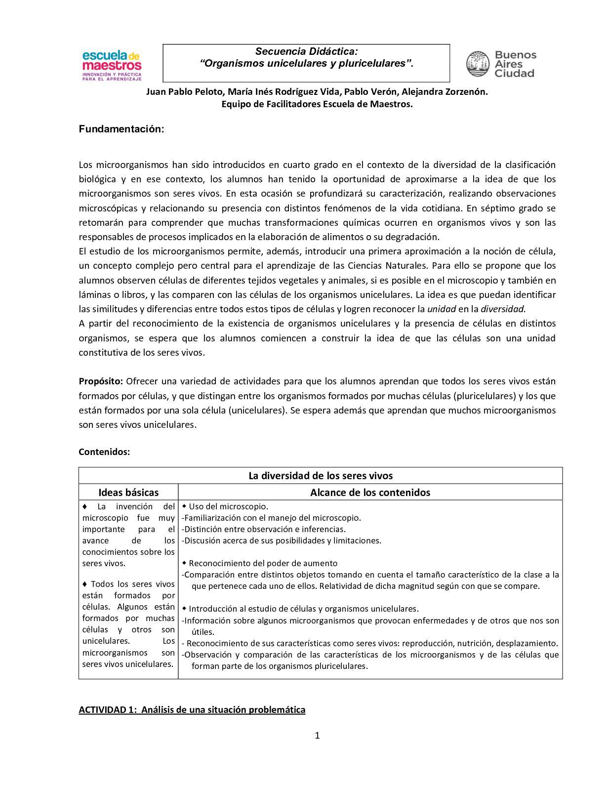 Secuencia Organismos Uni Y Pluricelulares_ 5to Grado FS 2018