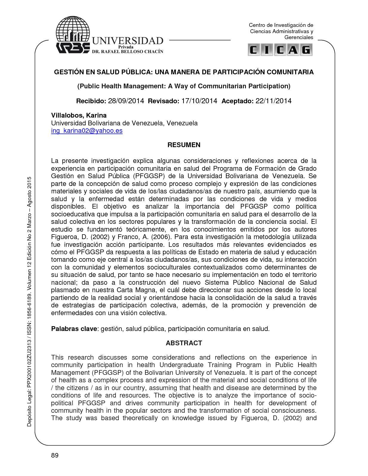 Calaméo - GESTIÓN EN SALUD PÚBLICA: UNA MANERA DE PARTICIPACIÓN ...