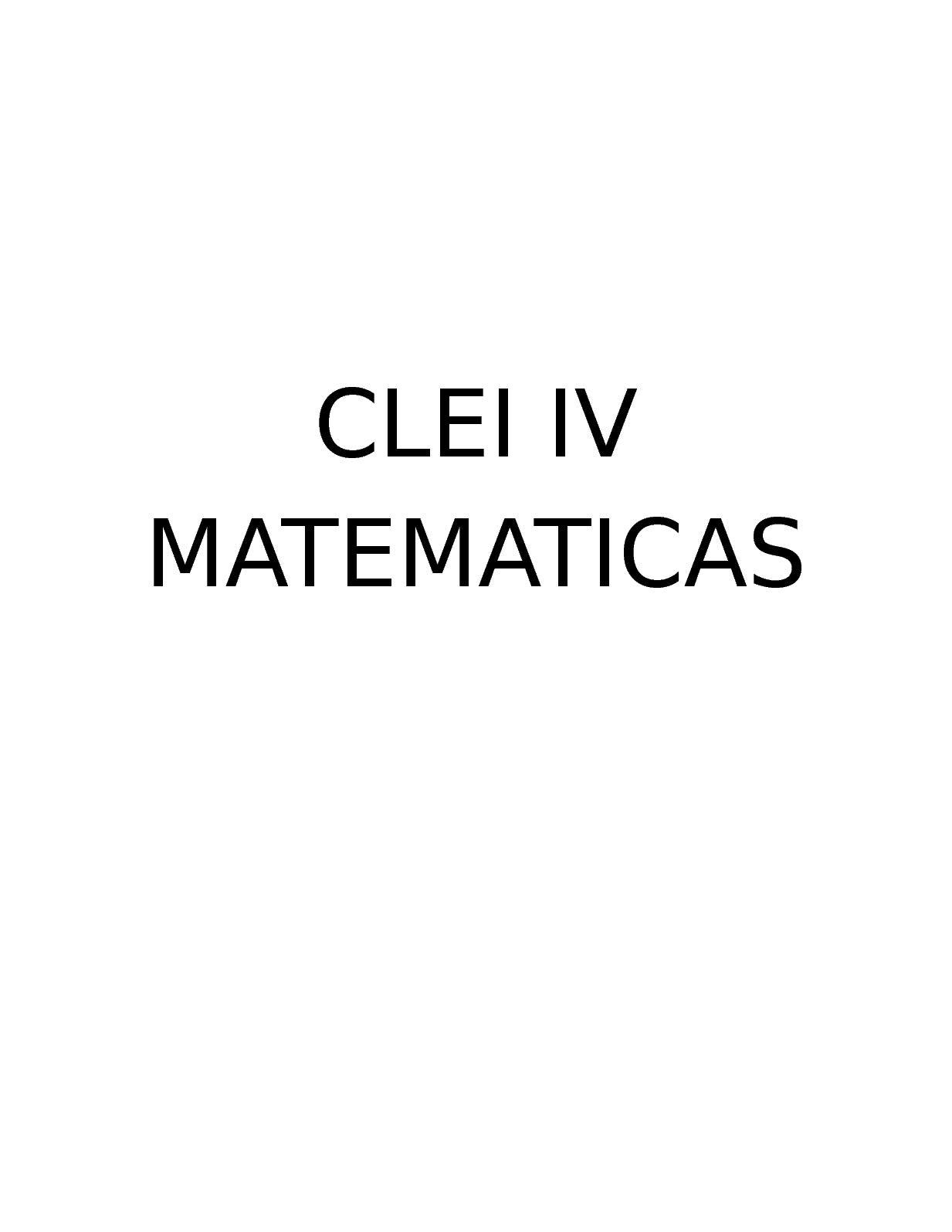 Matematicas Clei Iv