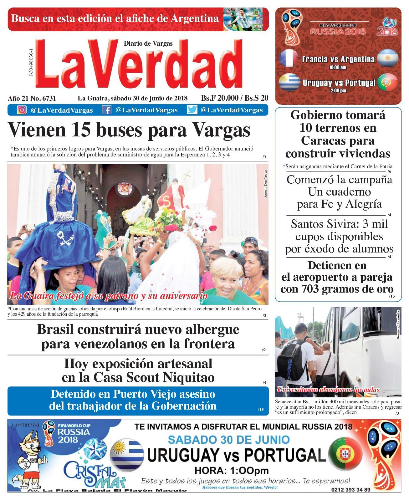 Calaméo - La Guaira, sábado 30 de junio de 2018. Año 20 No 6731