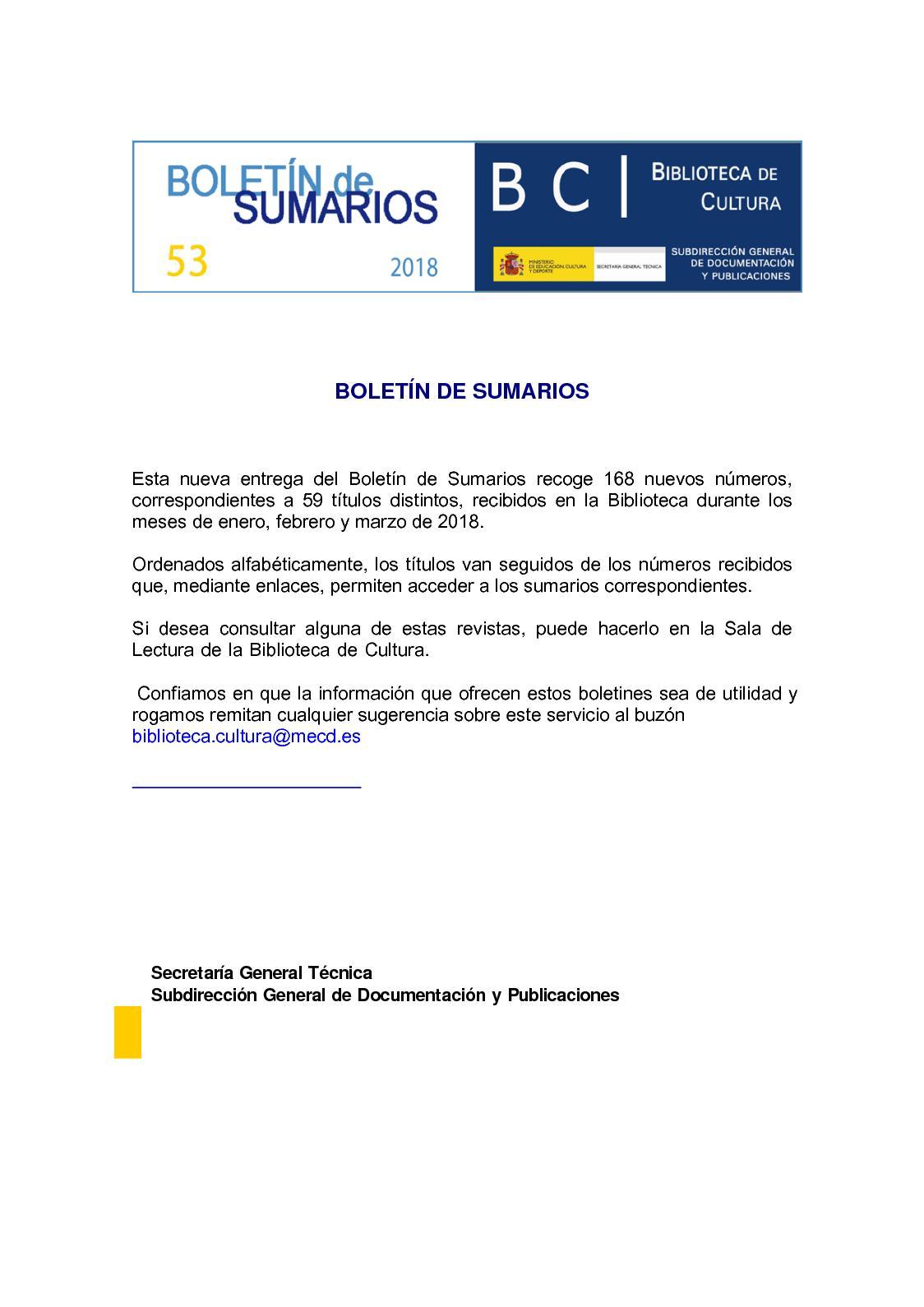 Calaméo - Boletin de Sumarios de la Biblioteca de Cultura 53