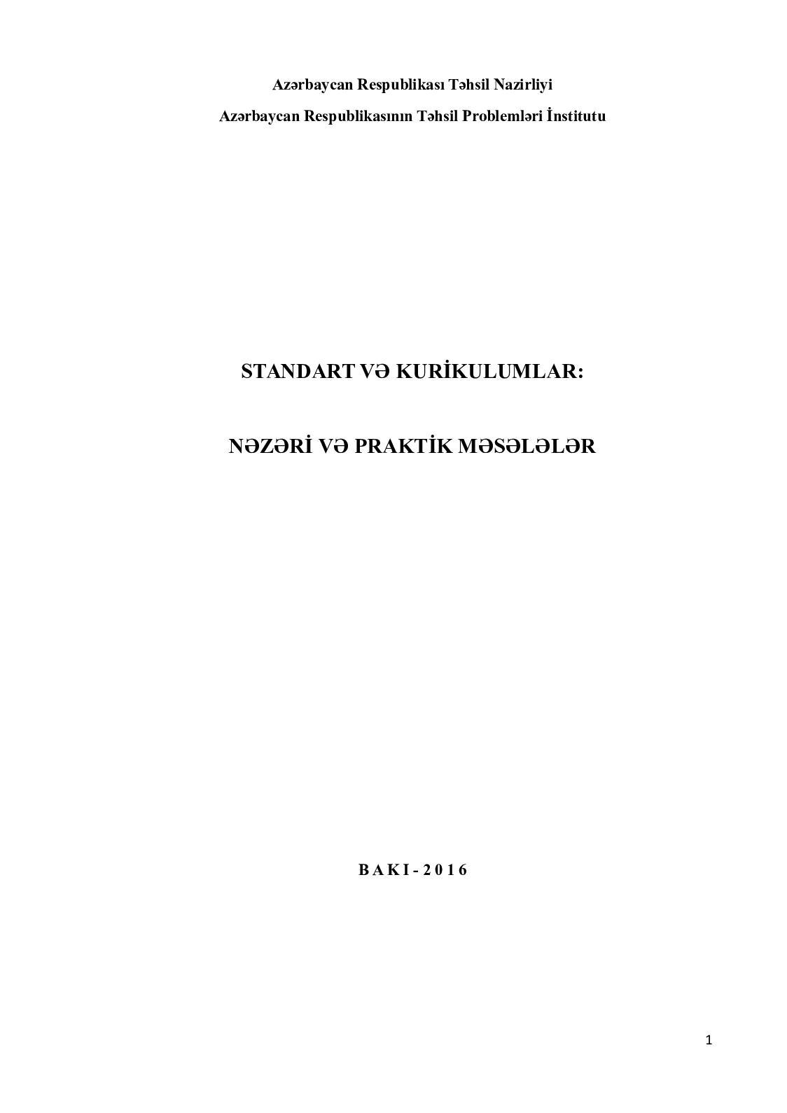 Standart Ve Kurikulumlar Kitab 2016