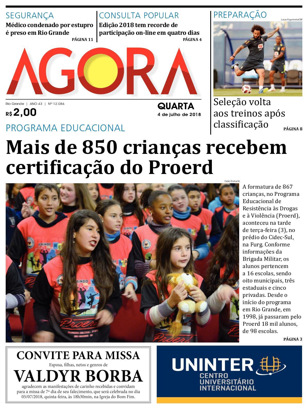 87d0a02378a Calaméo - Jornal Agora - Edição 12086 - 4 de Julho de 2018