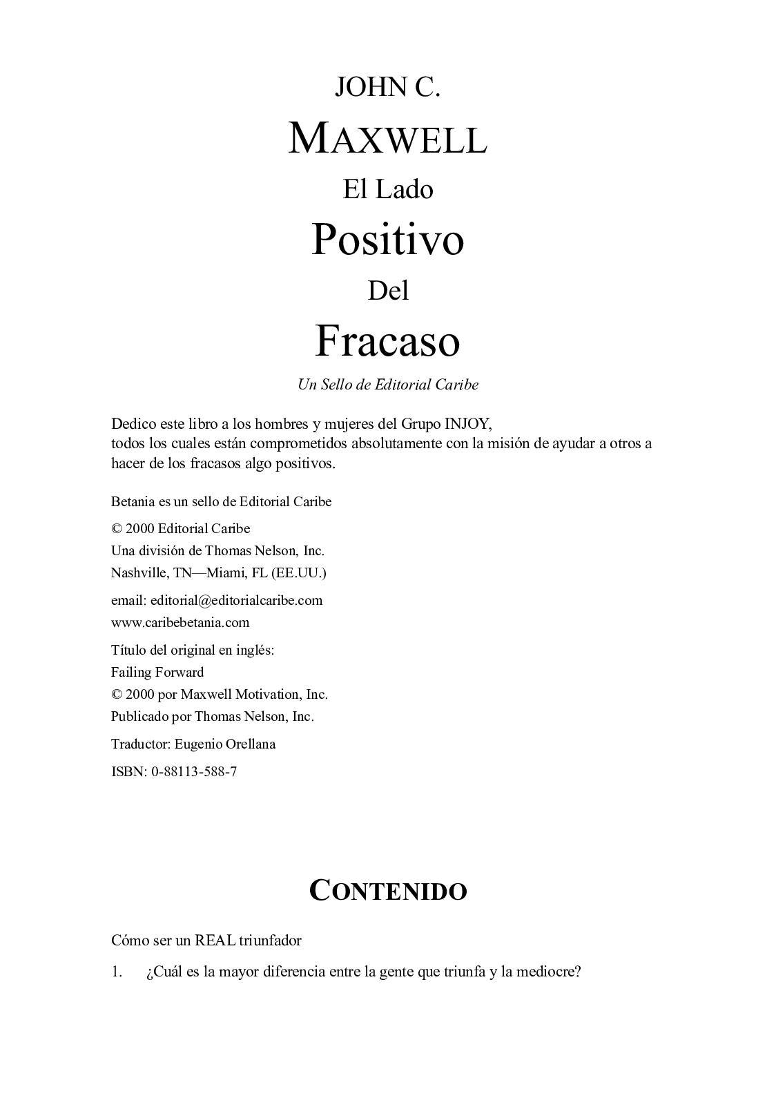 Calaméo - El Lado Positivo Del Fracaso (John C Maxwell)