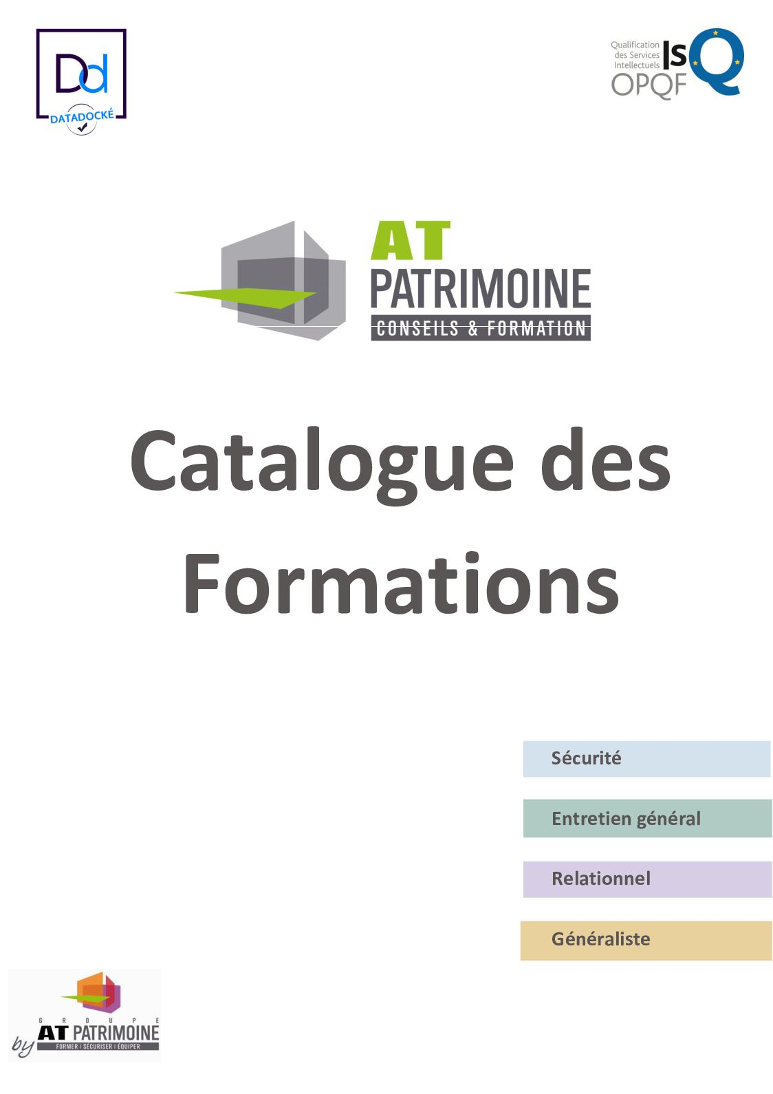 Catalogue Des Formations At Patrimoine 2018