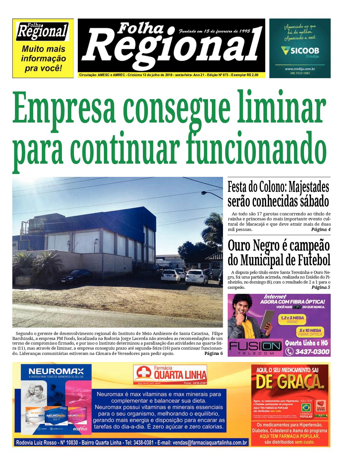 Folha Regional Ed.973 - 13/07/2018