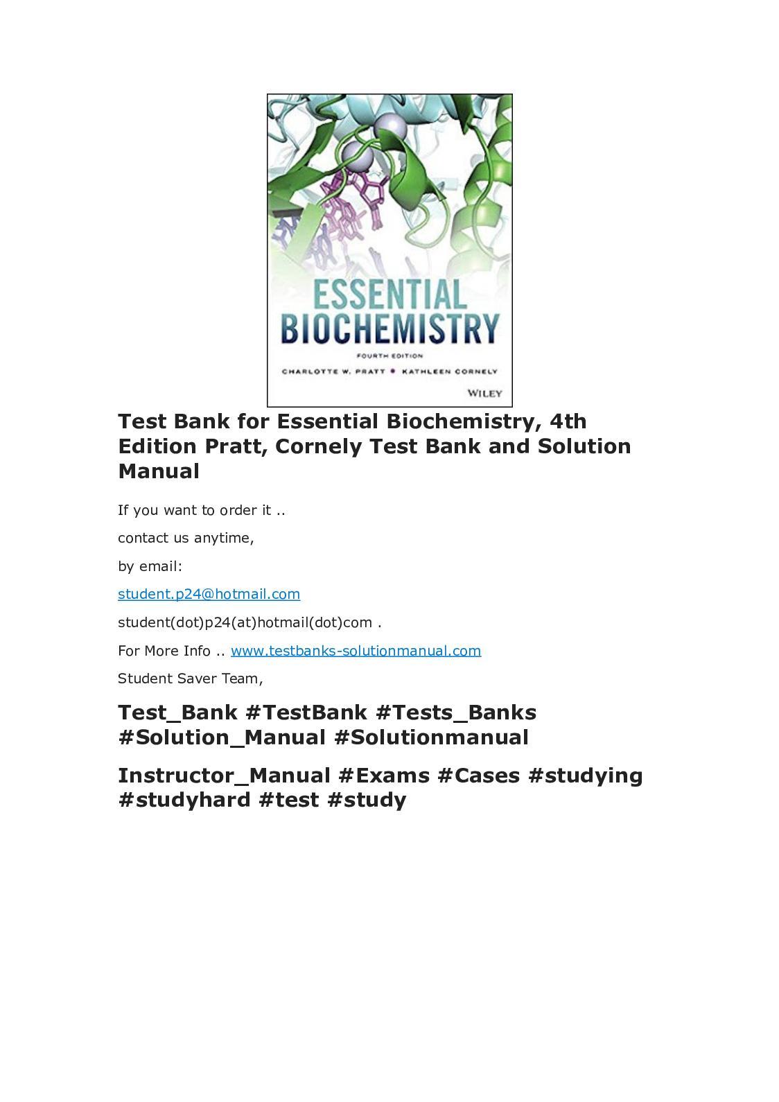 calam o test bank for essential biochemistry 4th edition pratt rh calameo com essential biochemistry pratt solutions manual Test Bank Solutions Manual