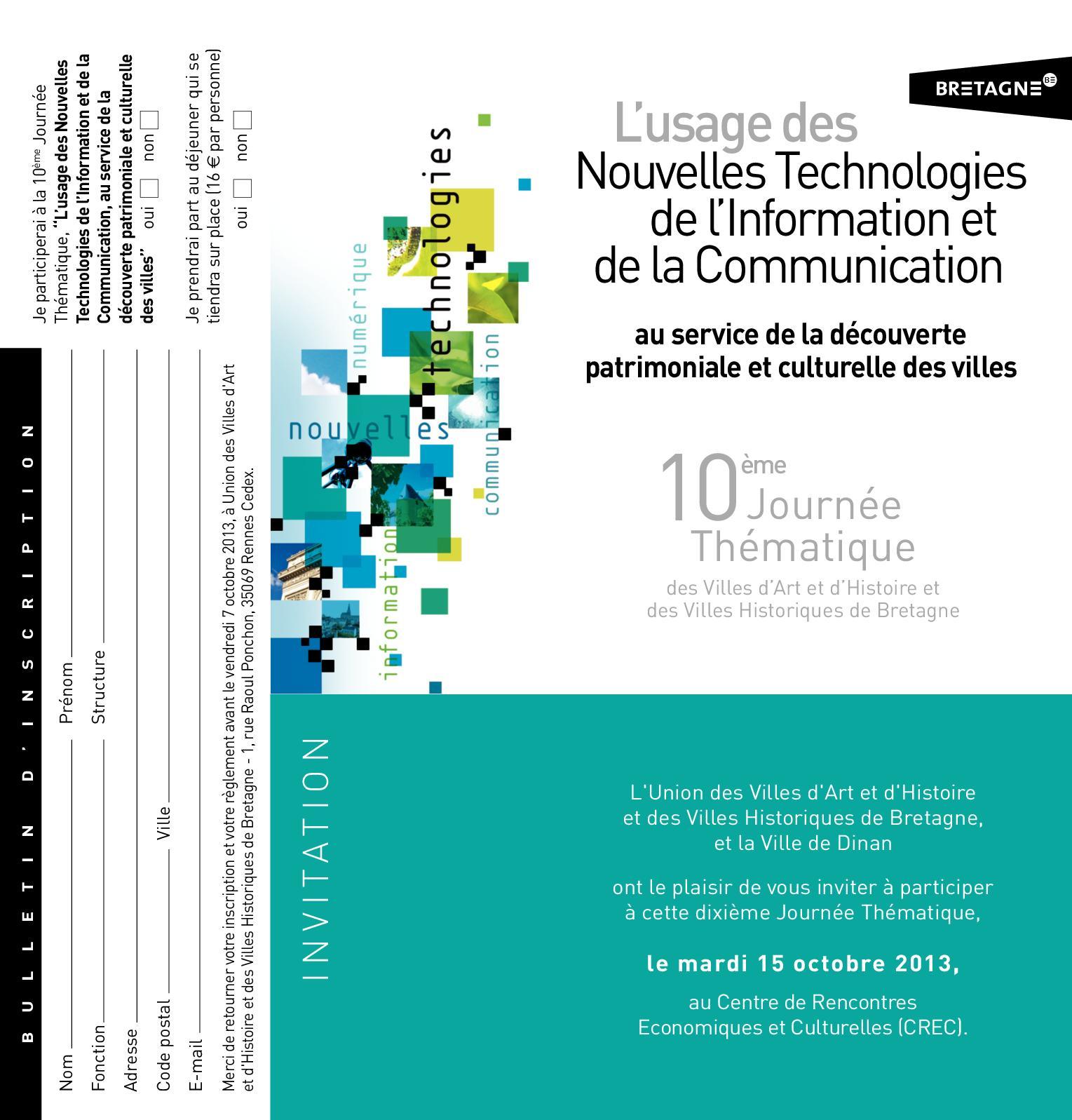 Programme - 10ème Journée Thématique : NTIC et patrimoine
