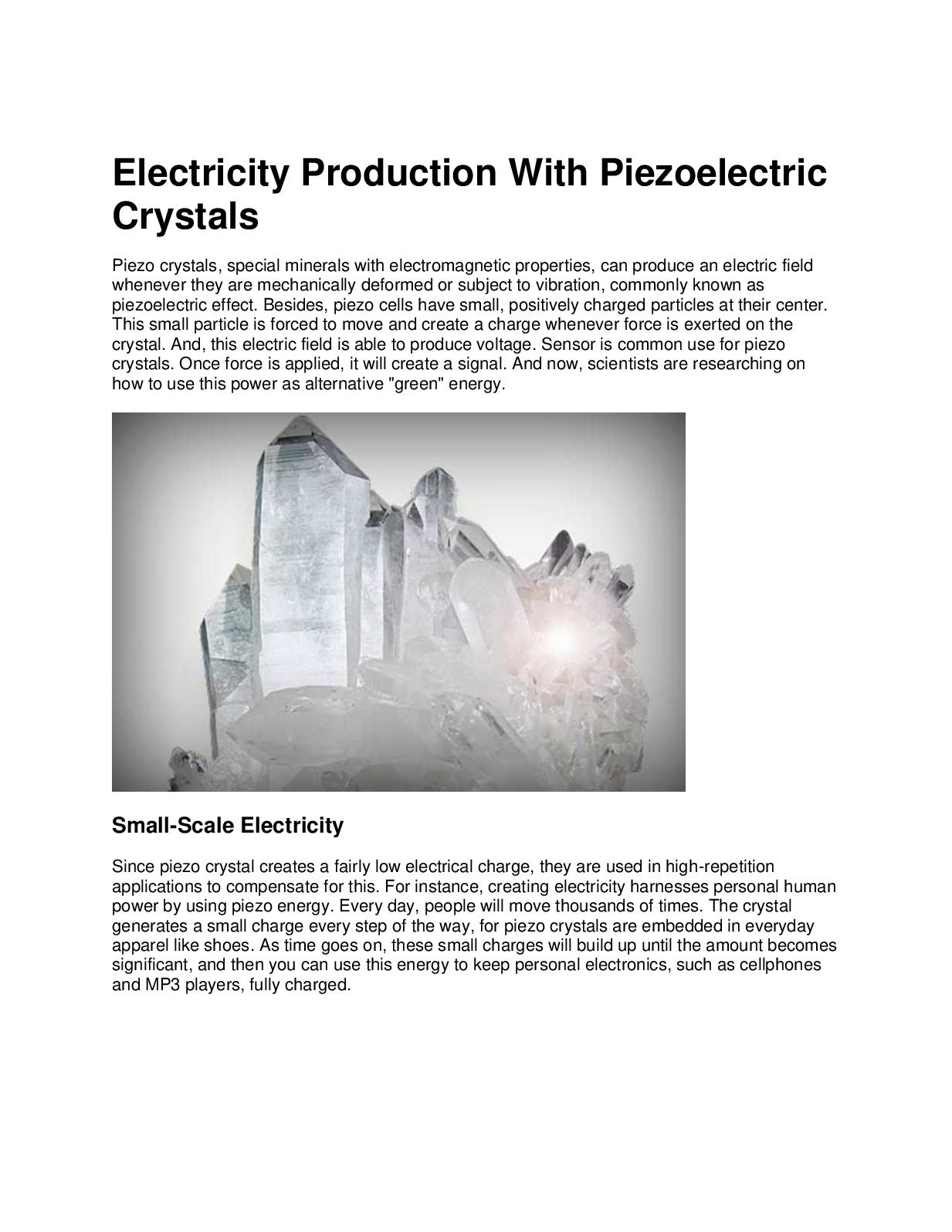 Calamo Electricity Production With Piezoelectric Crystals