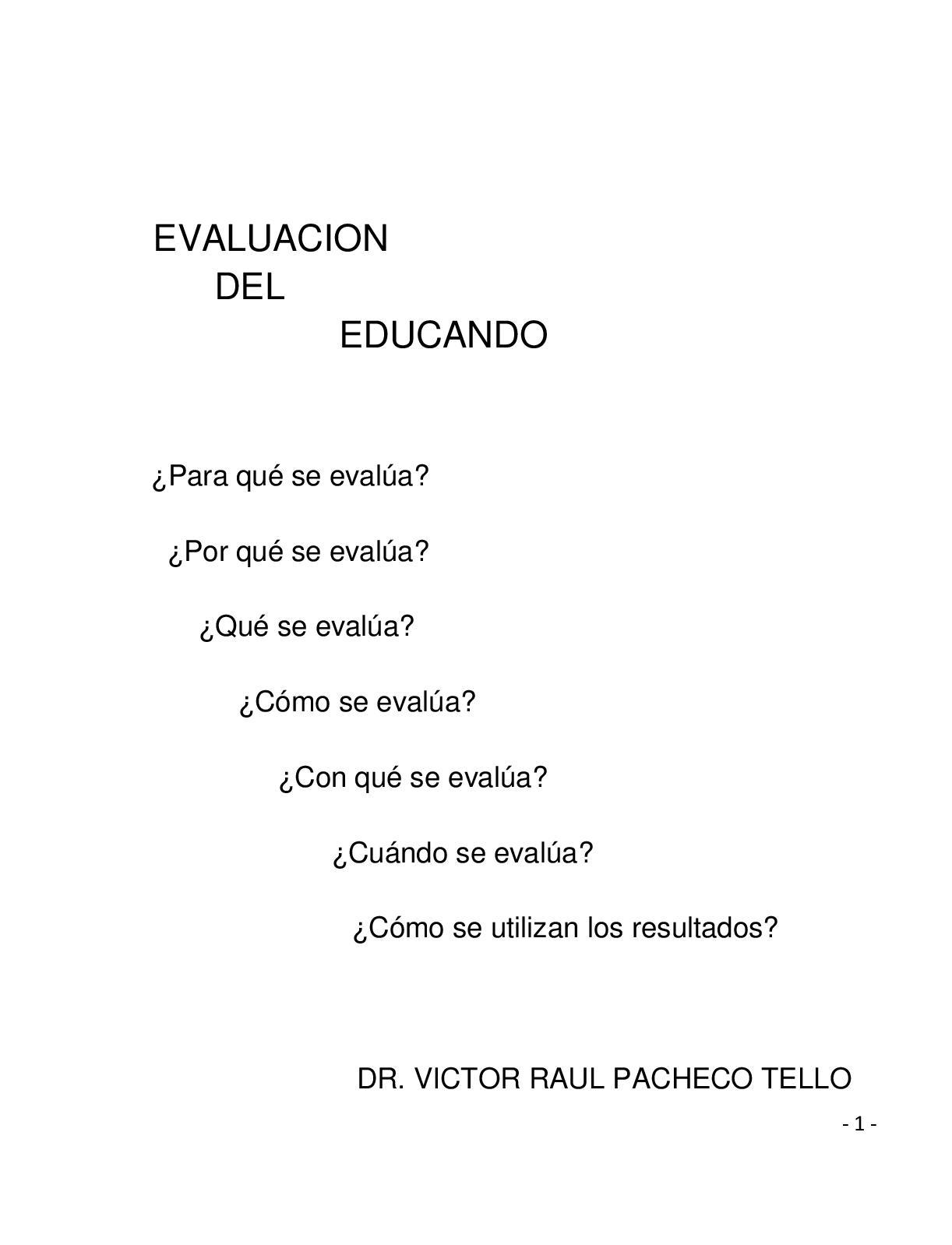 Libro De Evaluacion Del Educando