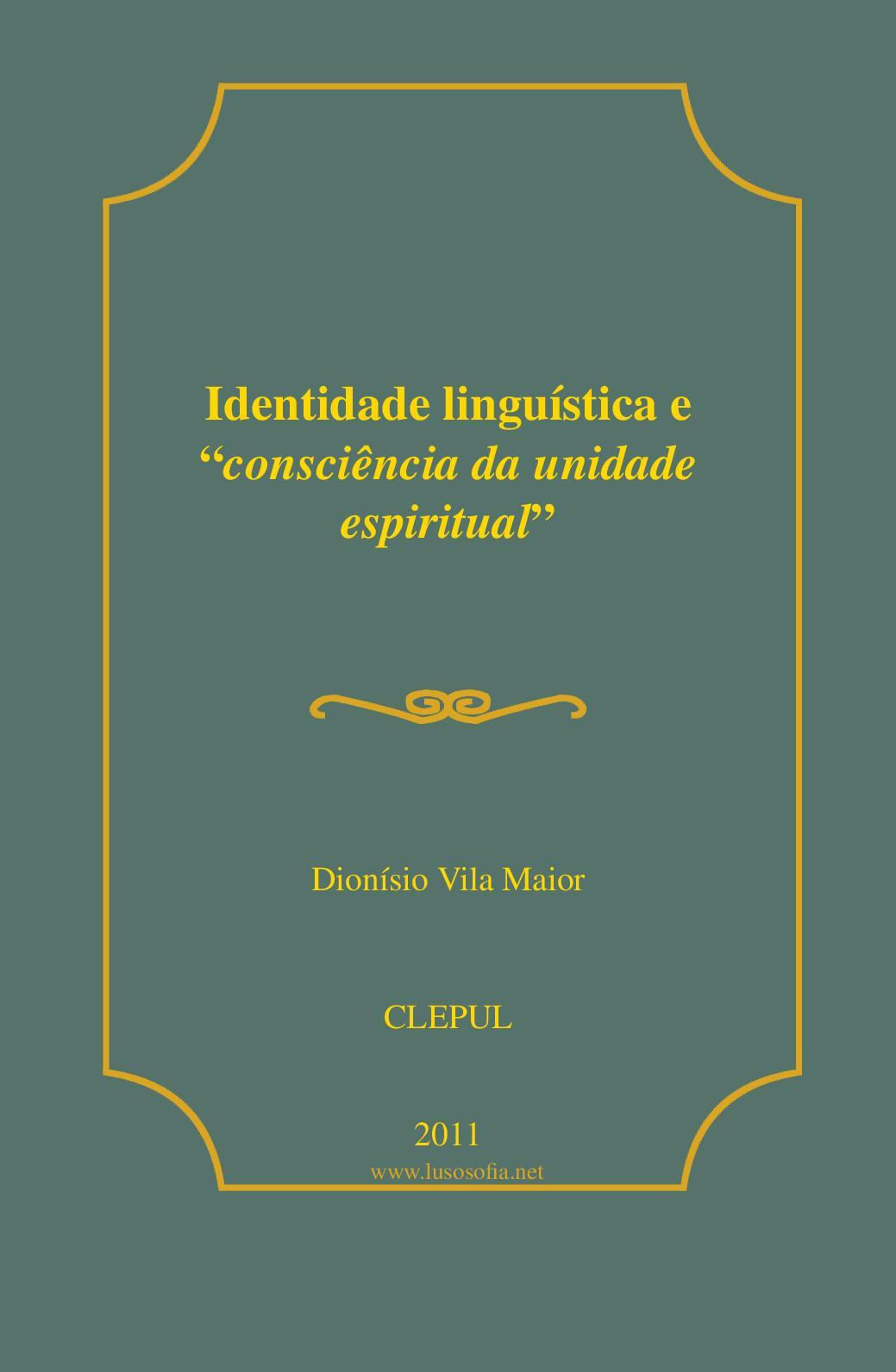"Identidade linguística e ""consciência da unidade espiritual"""