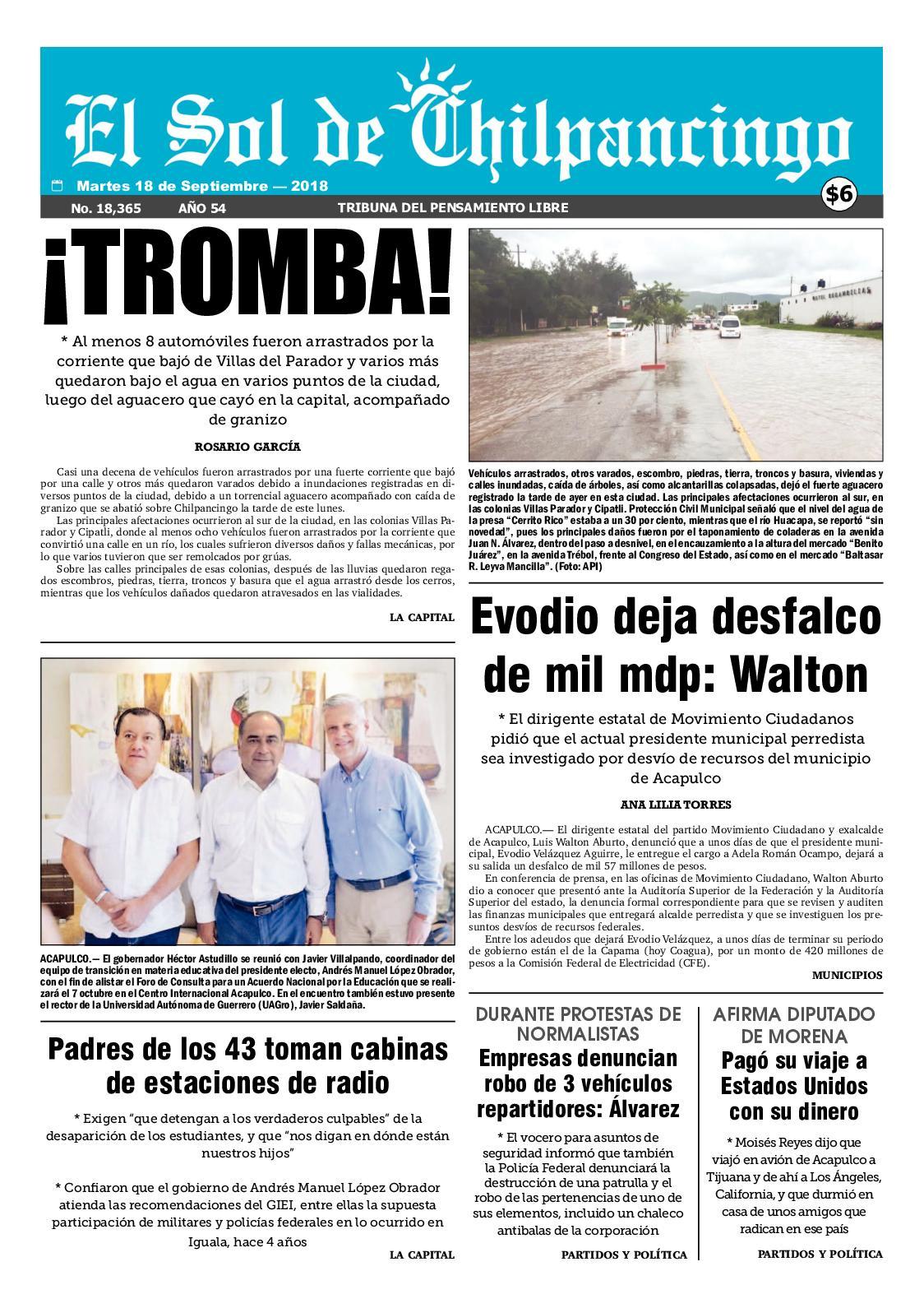 Calaméo - El Sol De Chilpancingo 18 Septiembre 2018