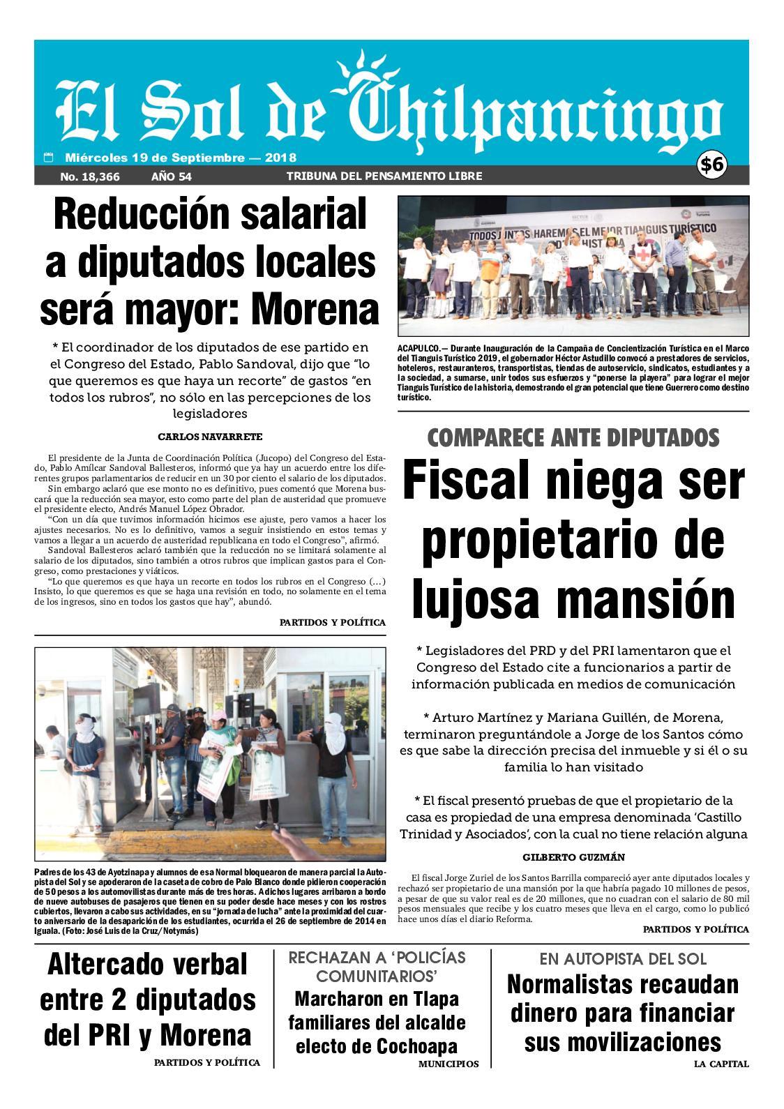 Calaméo - El Sol De Chilpancingo 19 Septiembre 2018 4c1c8f3d01689
