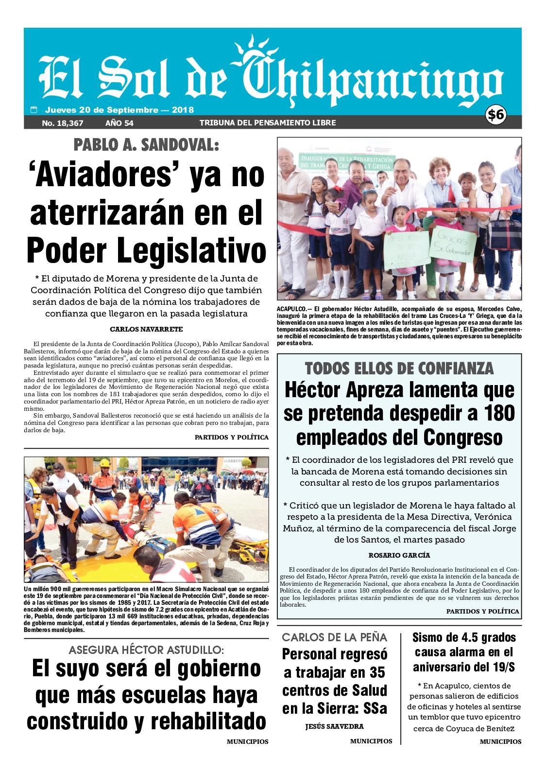 Calaméo - El Sol De Chilpancingo 20 Septiembre 2018