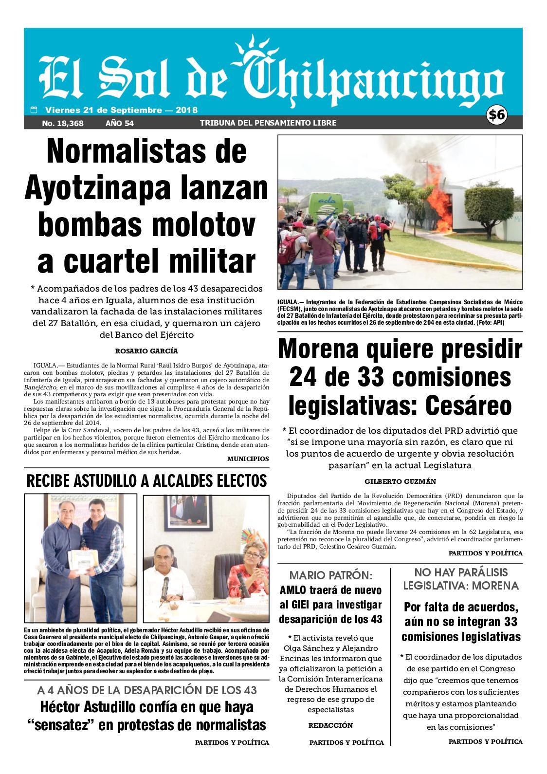 Calaméo - El Sol De Chilpancingo 21 Septiembre 2018