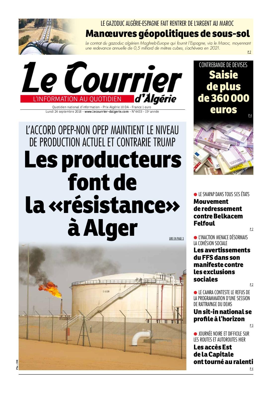 Le Courrier d'Algérie du lundi 24 septembre 2018