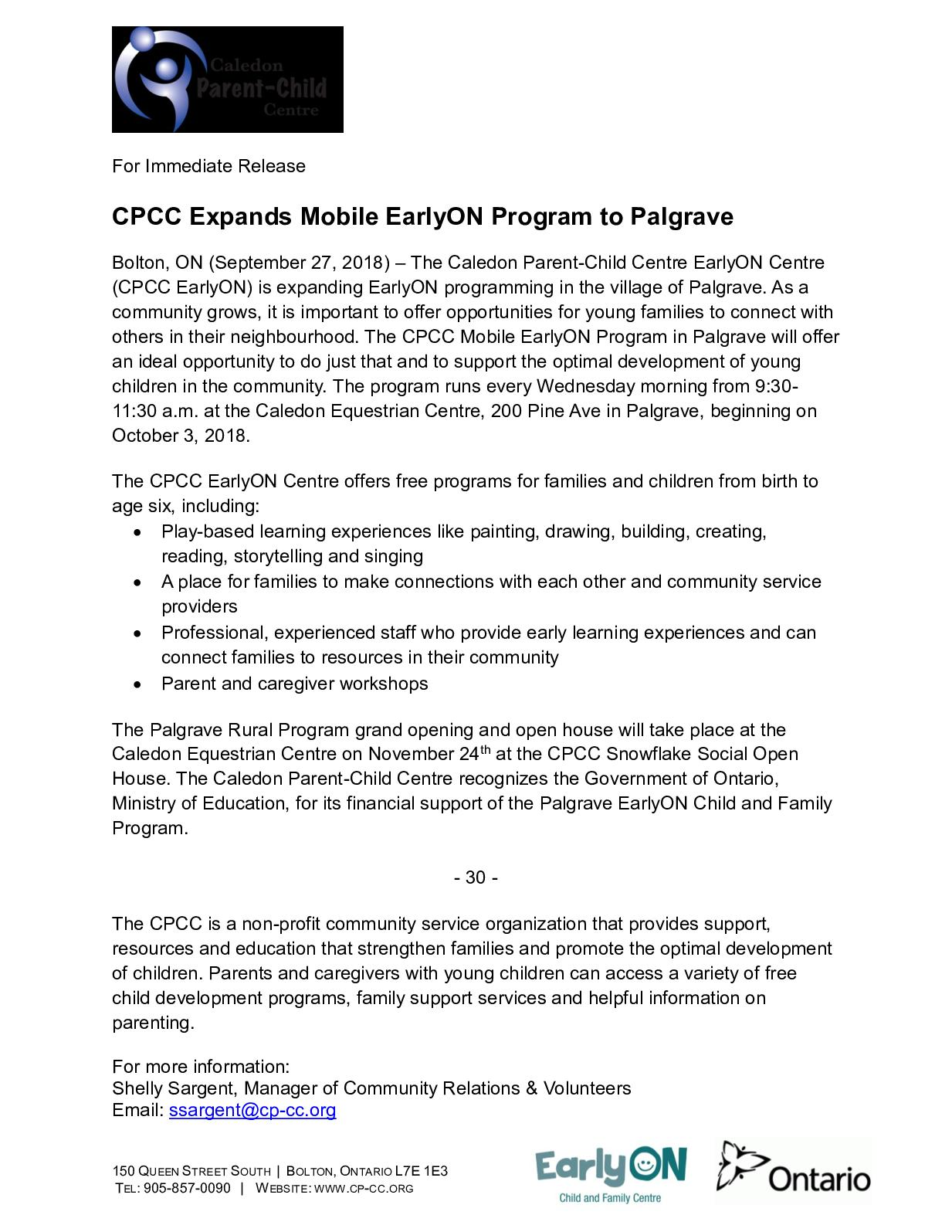 Calaméo Cpcc Expands Mobile Early On Program To Palgrave