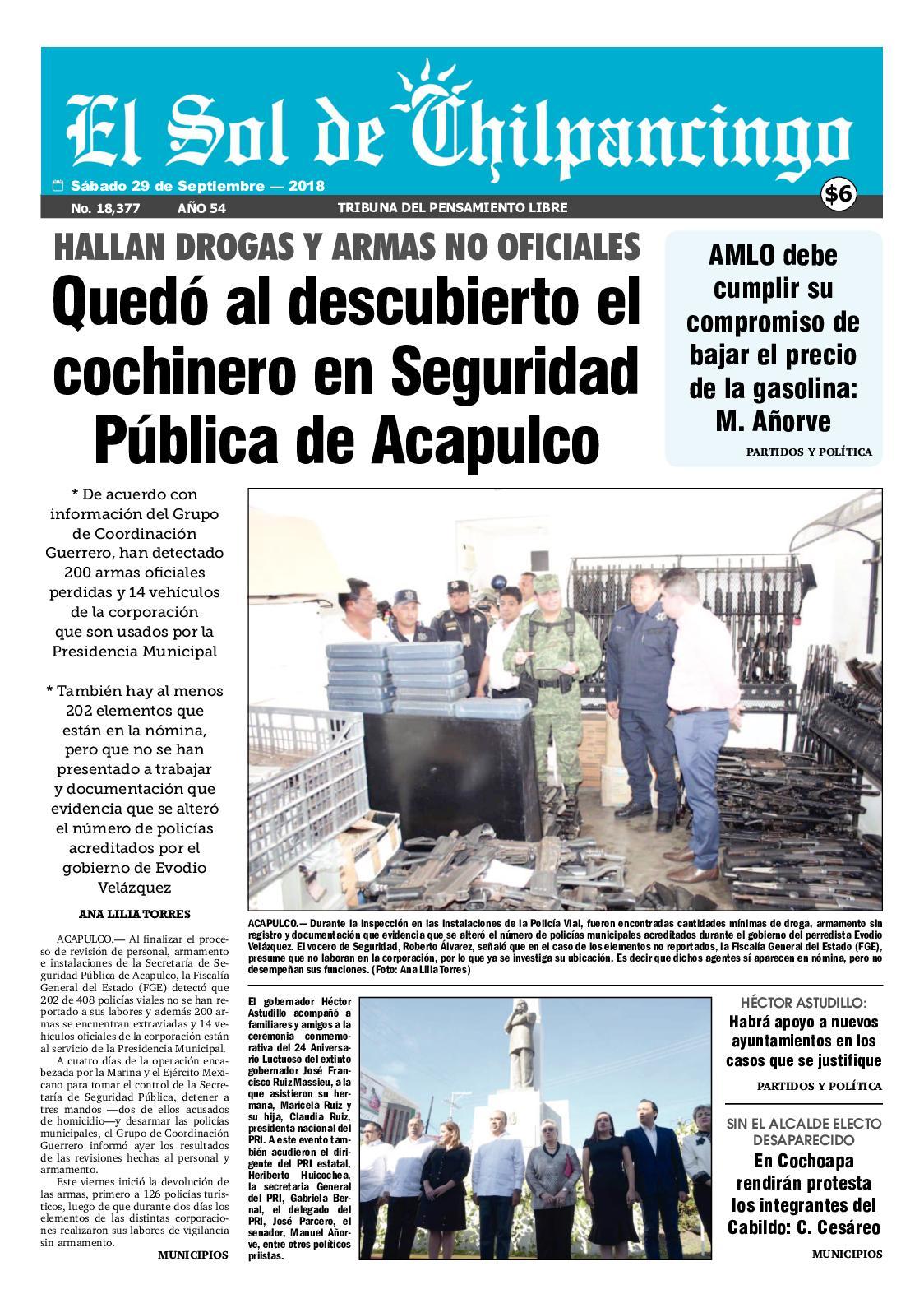 Calaméo - El Sol De Chilpancingo 29 Septiembre 2018