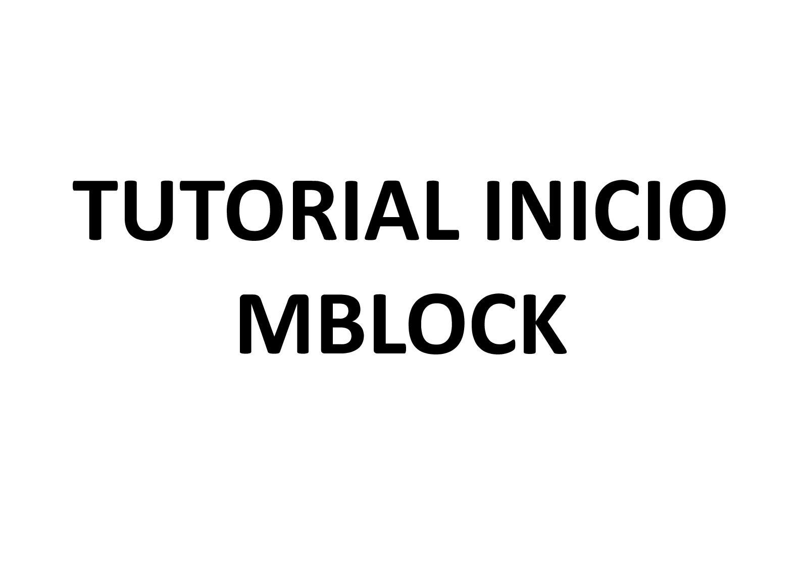 Tutorial Mblock