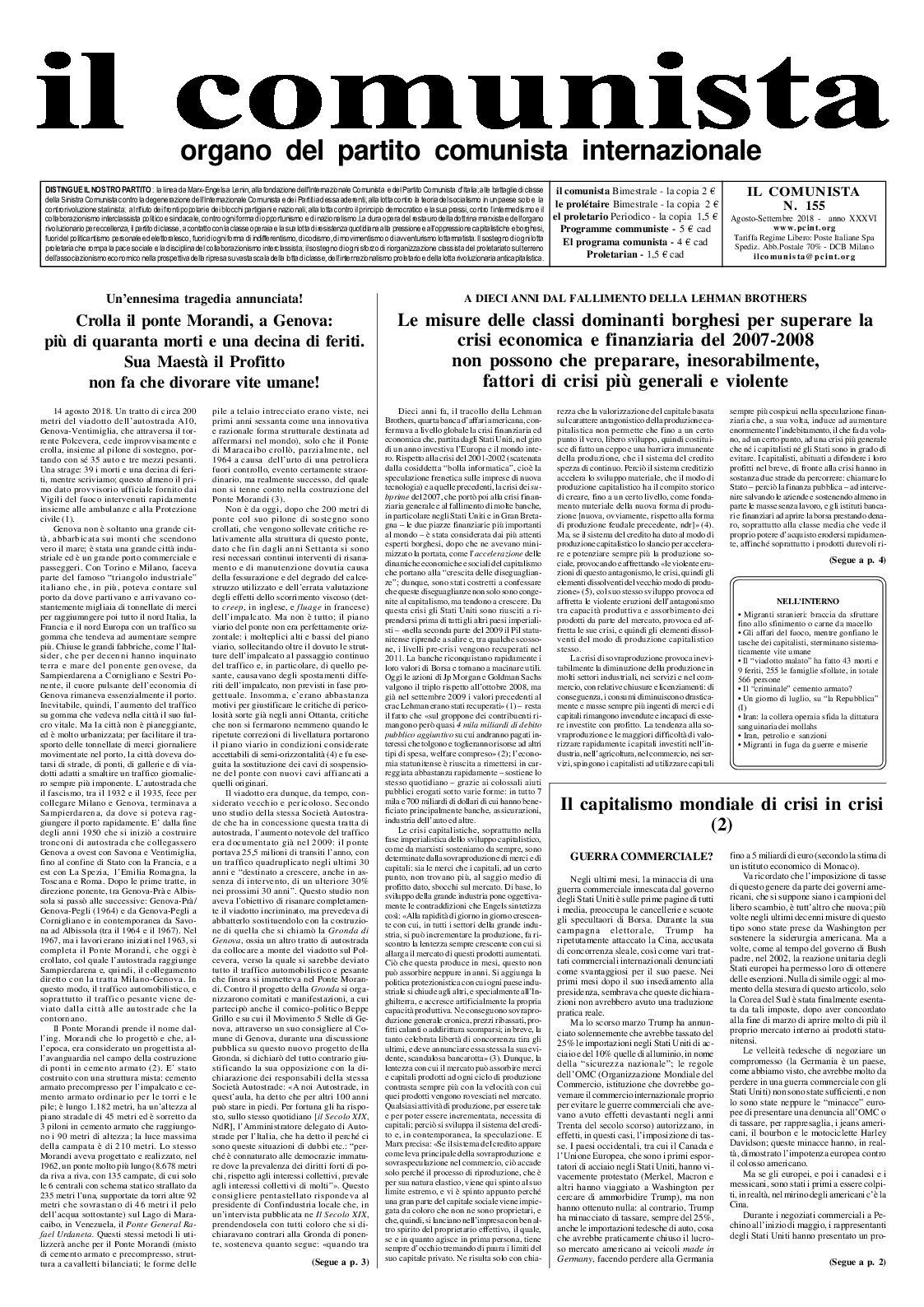 N° août Il Calaméo 2018 Comunista 155 Septembre pEPwgwq