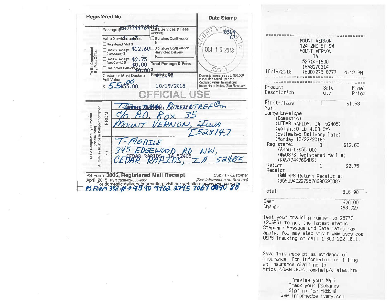 Calameo Usps Registered Mail Follow Up Affidavit Sent To T