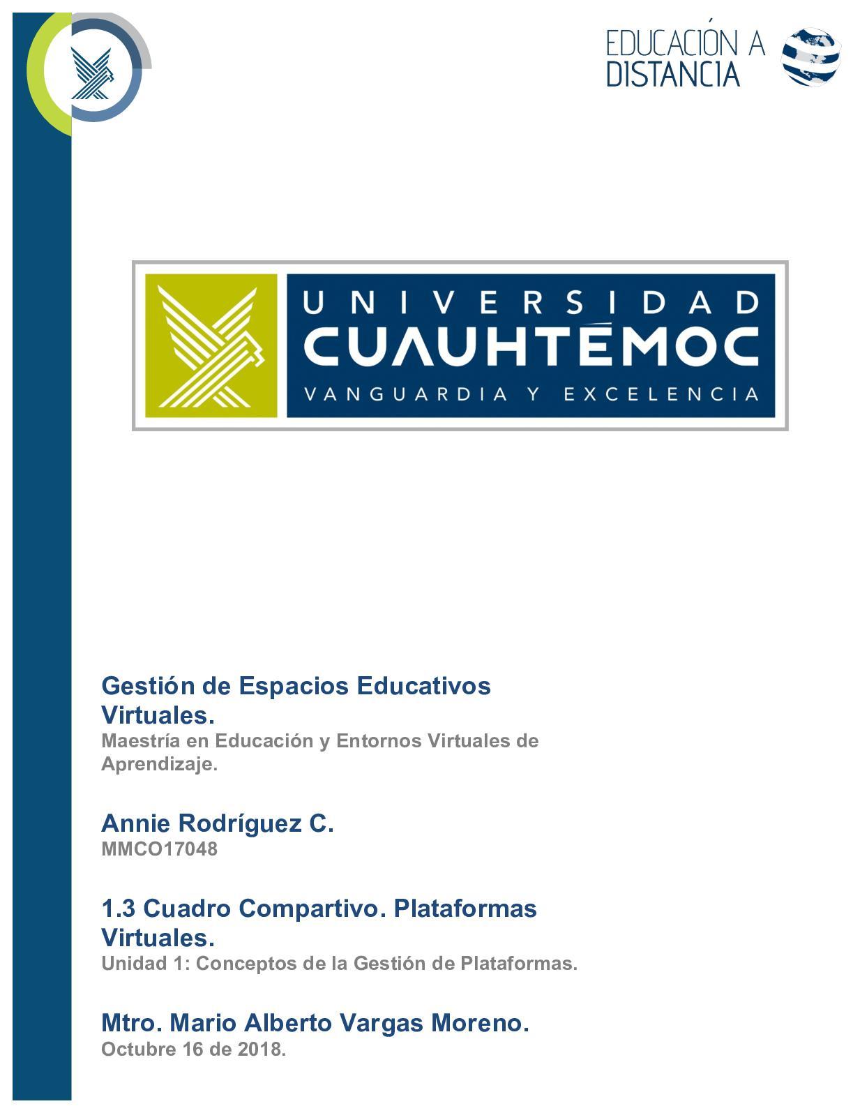 Cuadro Comparativo Plataformas Virtuales. Annie Rodríguez C.