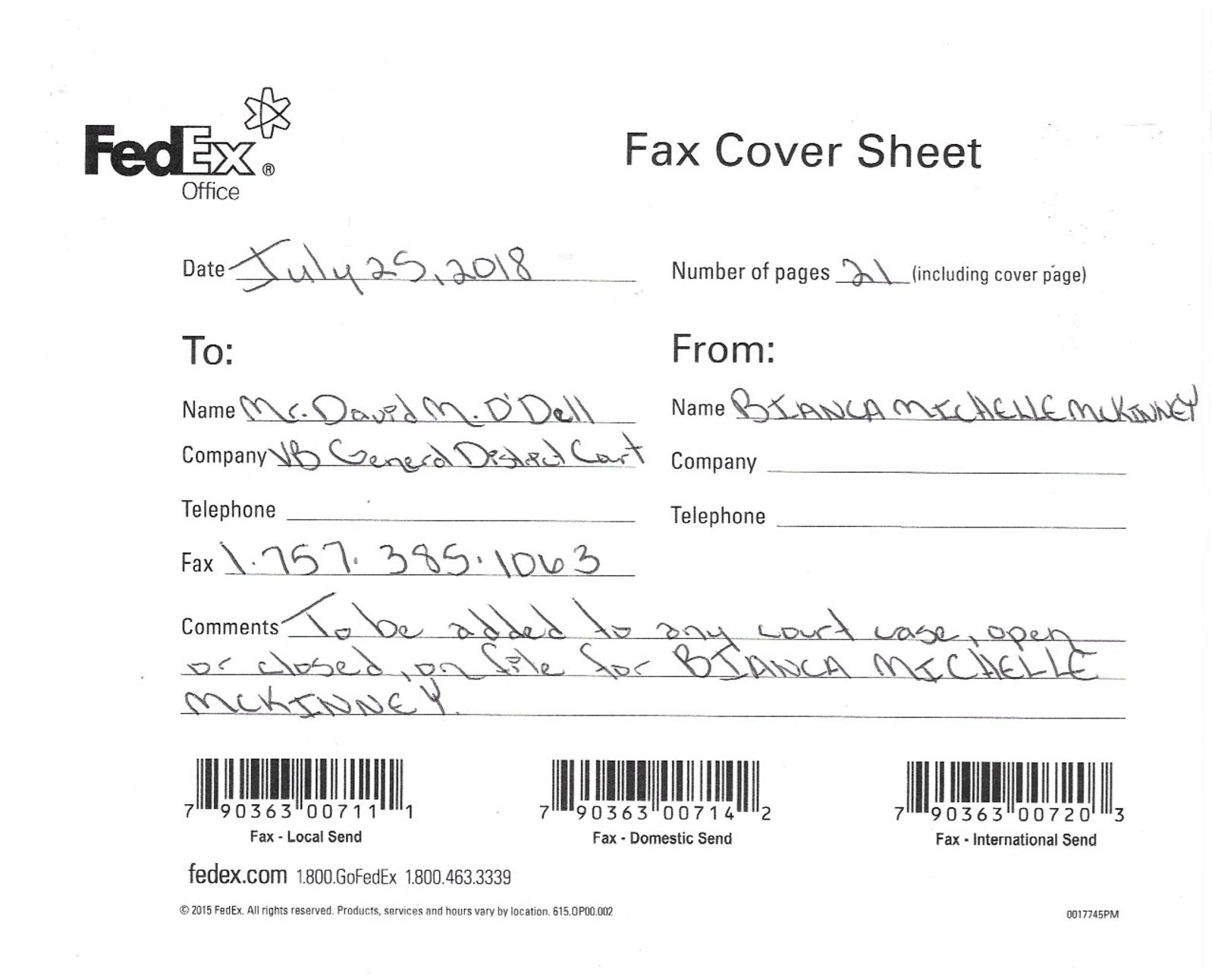 Sf 181 Faxed To Virginia Beach General District Court Mr David ODell