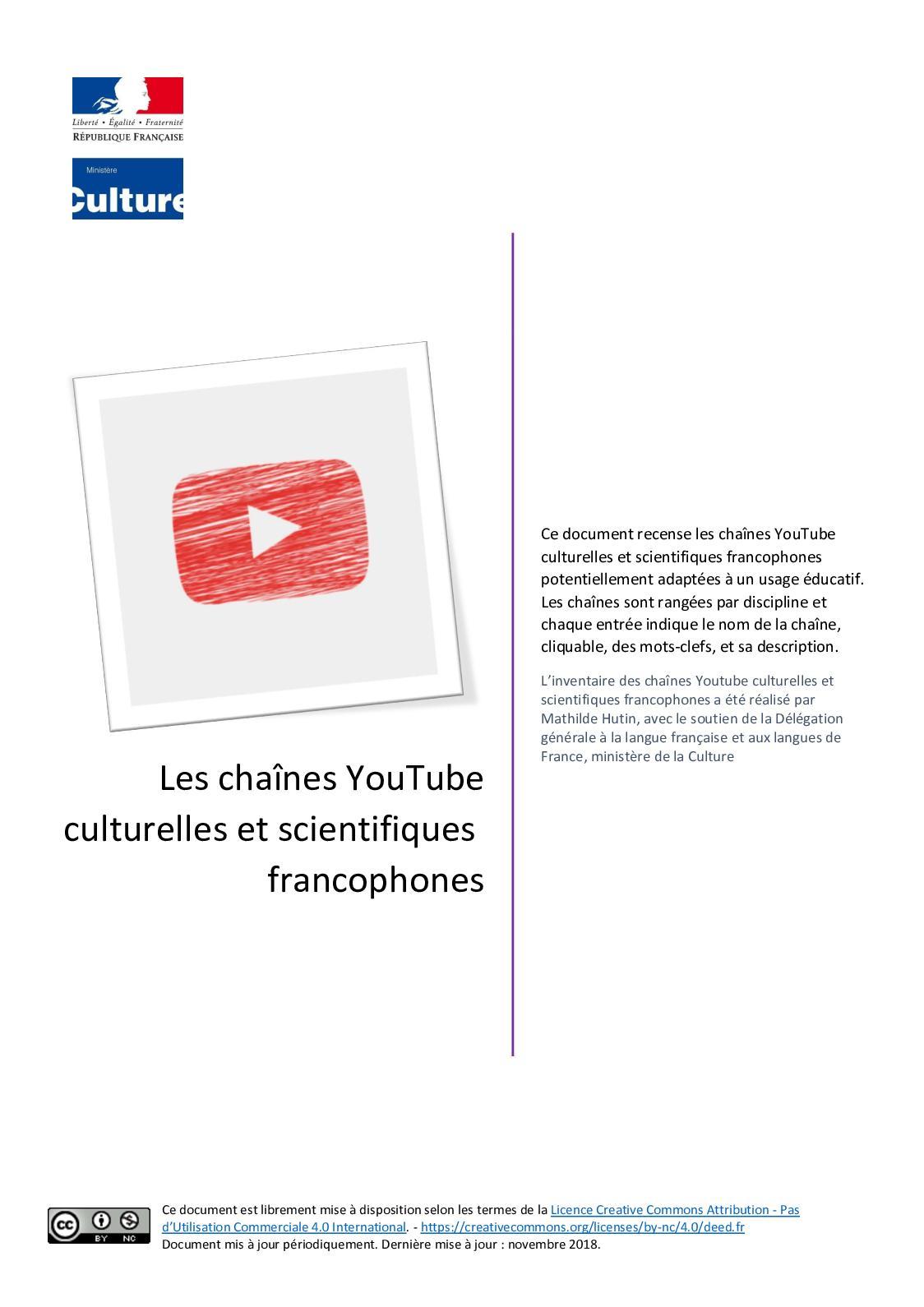 Calameo 350 Chaines Youtube Culturelles Et Scientifiques Francophones