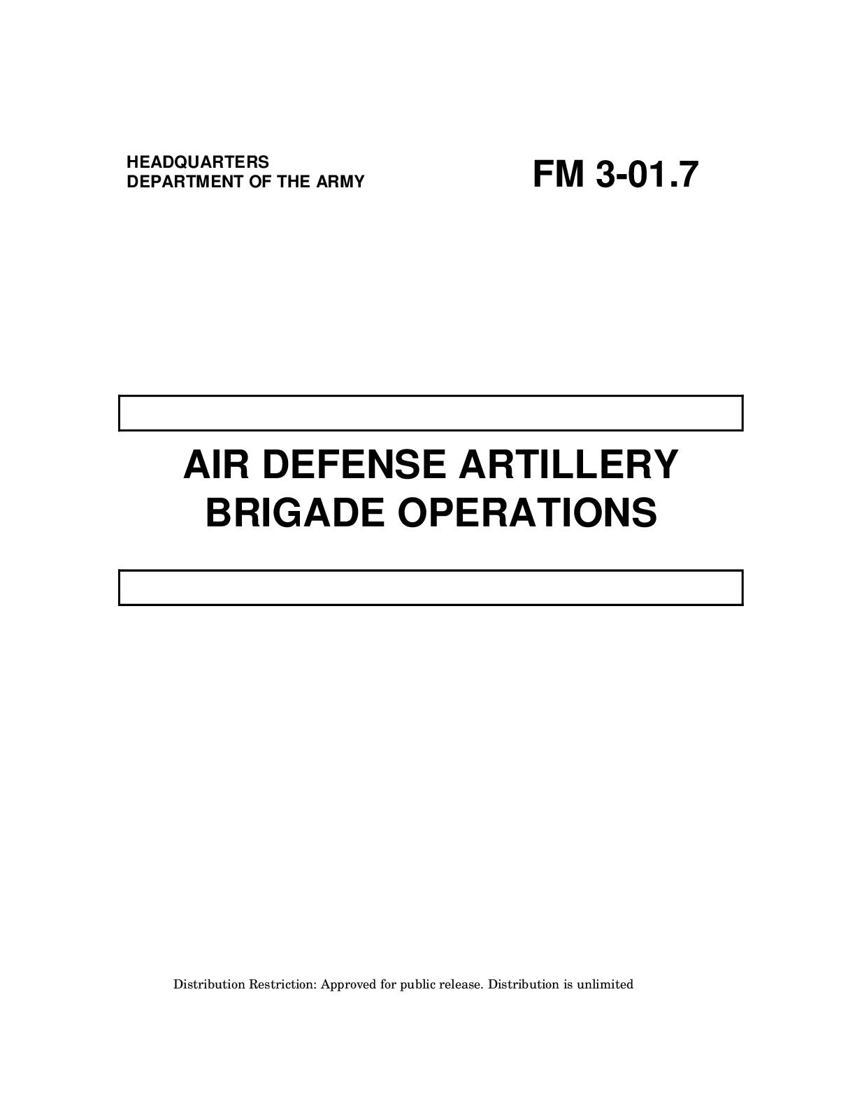 Calamo E Book English Military Us Army Field Manual Fm 3 Plug Wiring Diagram Wire Furthermore Stealth C Er Van On Generator 01 7 Air Defense Artillery Brigade Operations