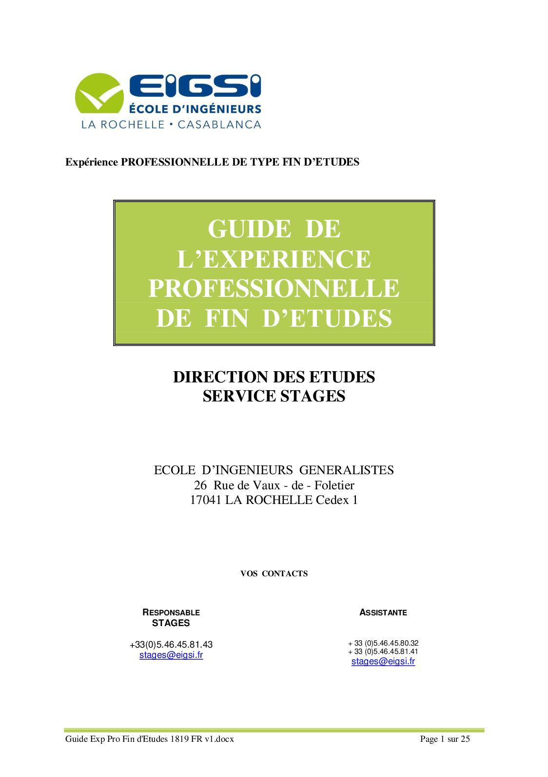Guide Exp Pro Fin D'etudes 1819 Fr V1