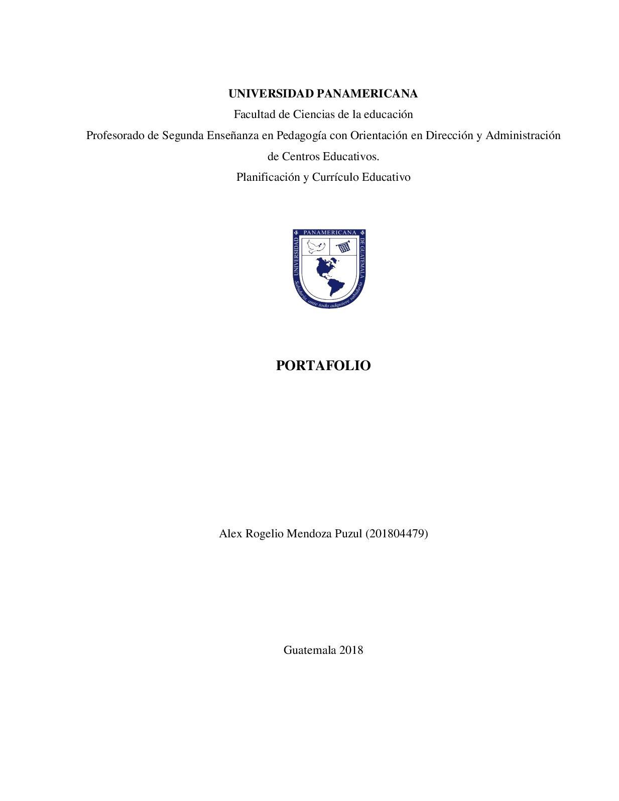 Portafolio Planificacion Y Curriculo Educativa 2018
