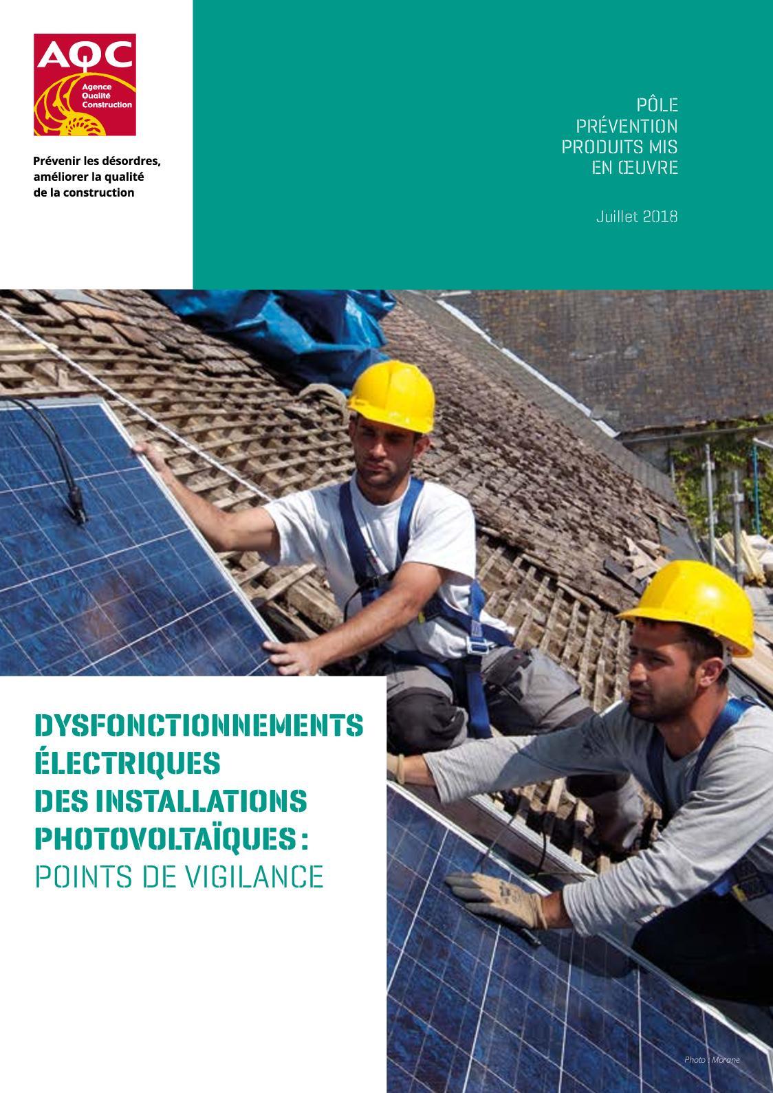 E Dysfonctionnements Électriques Installations Photovoltaïques Vigilance Pdf 0