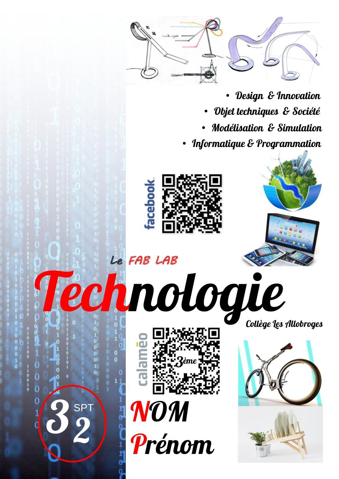 Classeur Technologie 3ème Période 2