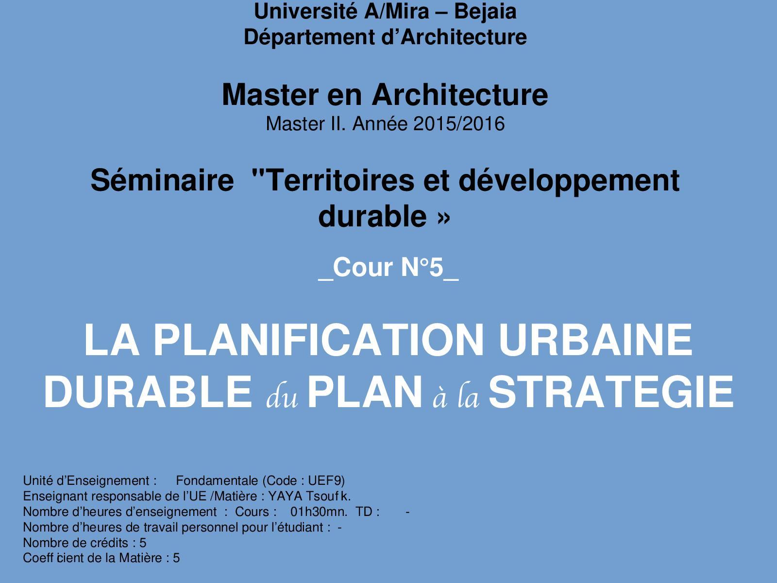 La Planification Urbaine Durable Cours N 05