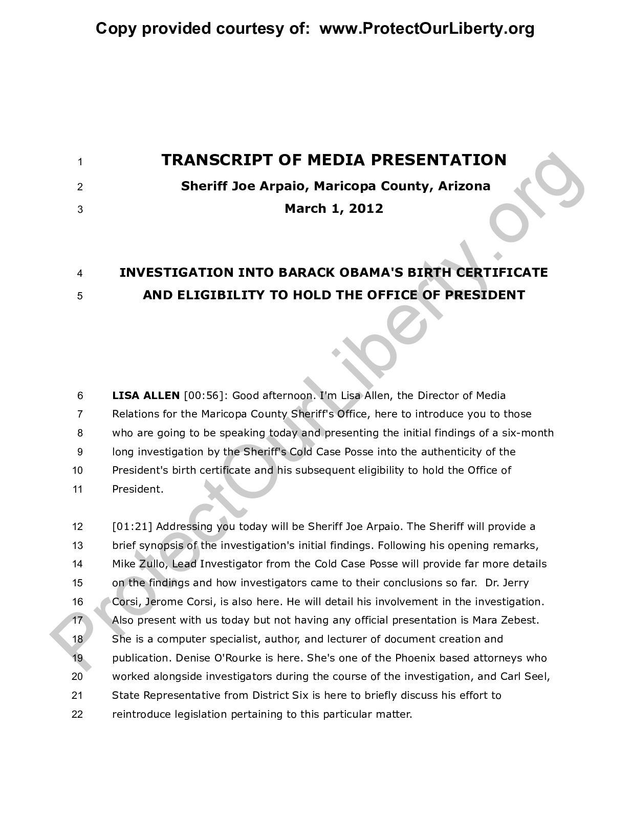 Calamo Transcript Of Media Presentation Sheriff Arpaio