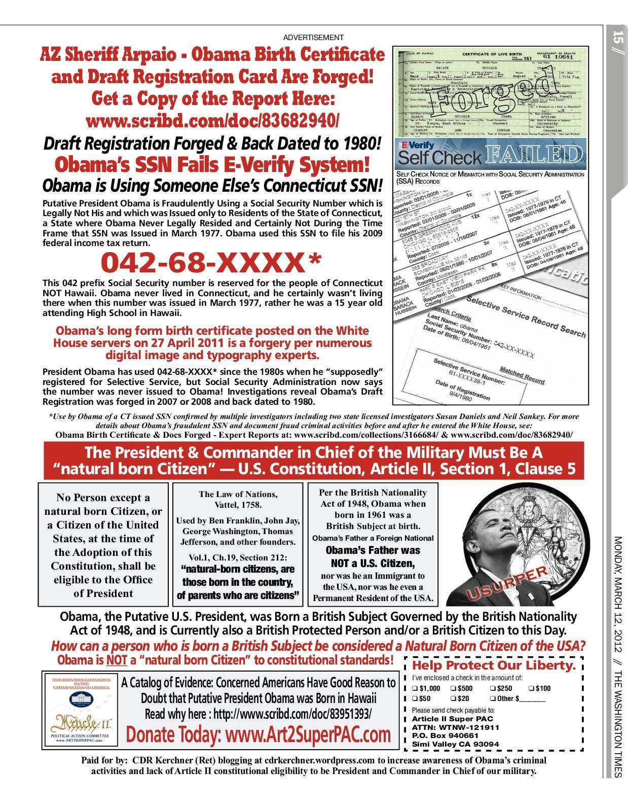 Calamo Az Sheriff Arpaio Says Obama Birth Cert And Draft Reg Card