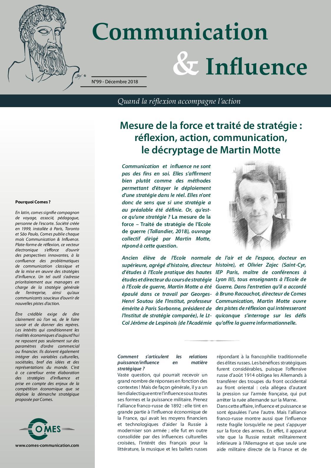 Mesure de la force et traité de stratégie : réflexion, action, communication, le décryptage de Martin Motte