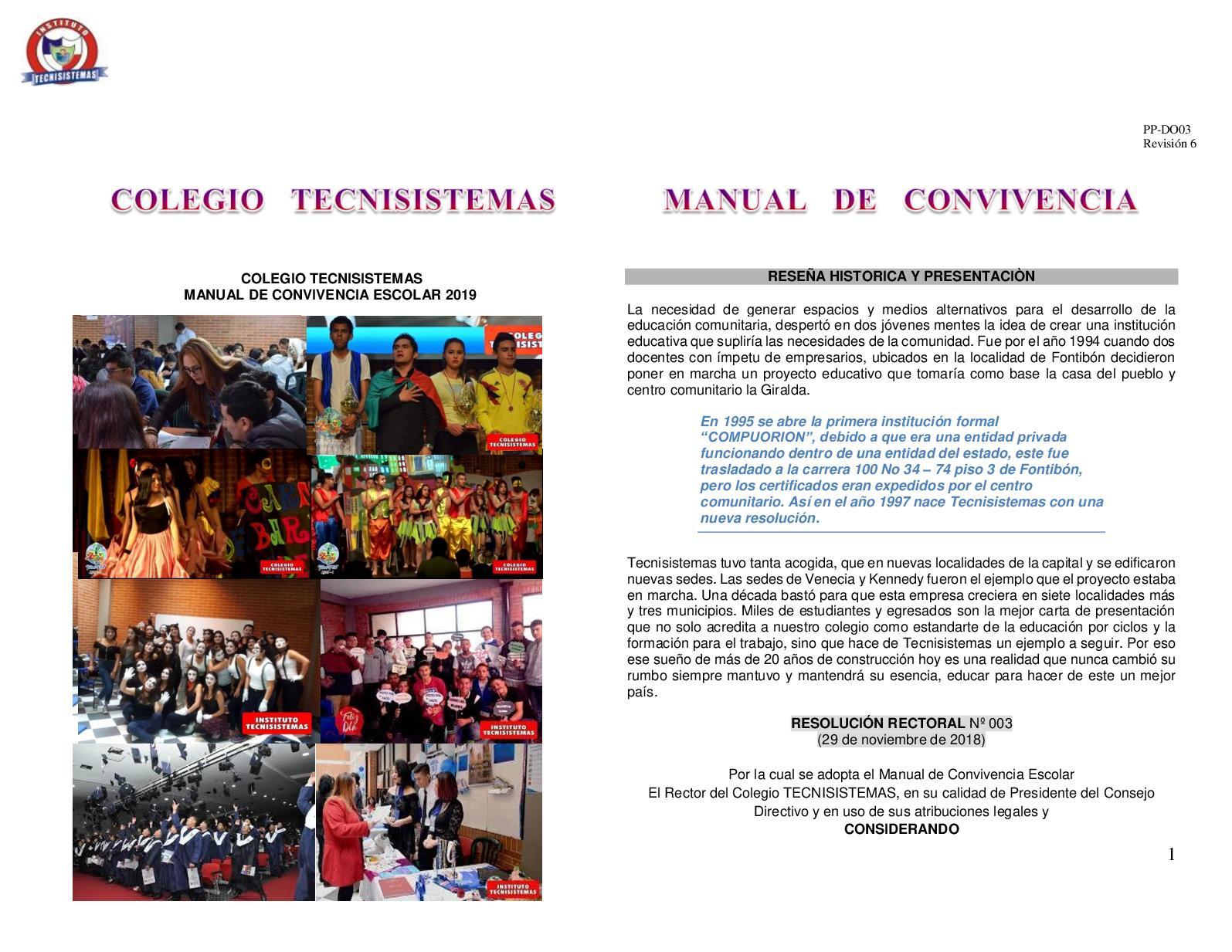 Manual De Convivencia Bachillerato 2019