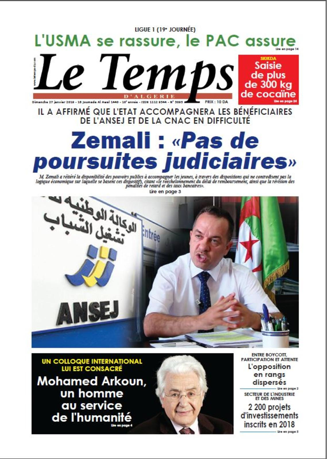 Le Temps D'algerie Du 27 01 2019