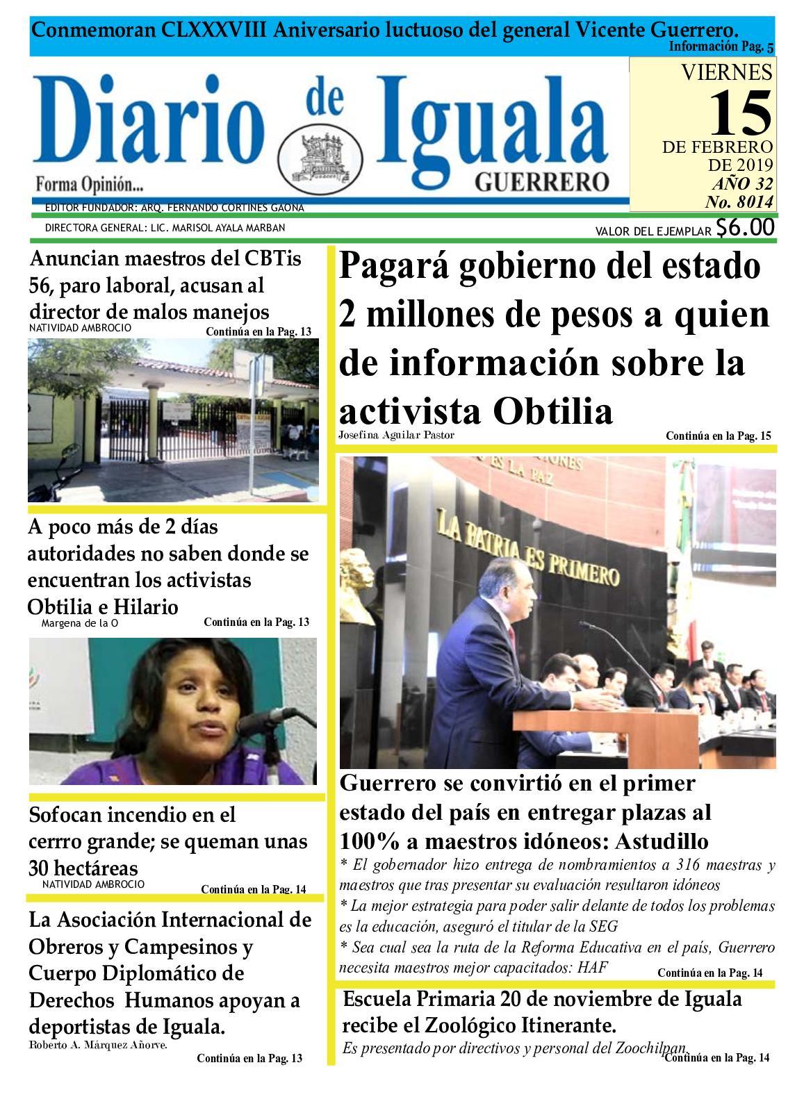 Viernes 15 De Febrero De 2019 Periodico Diario De Iguala