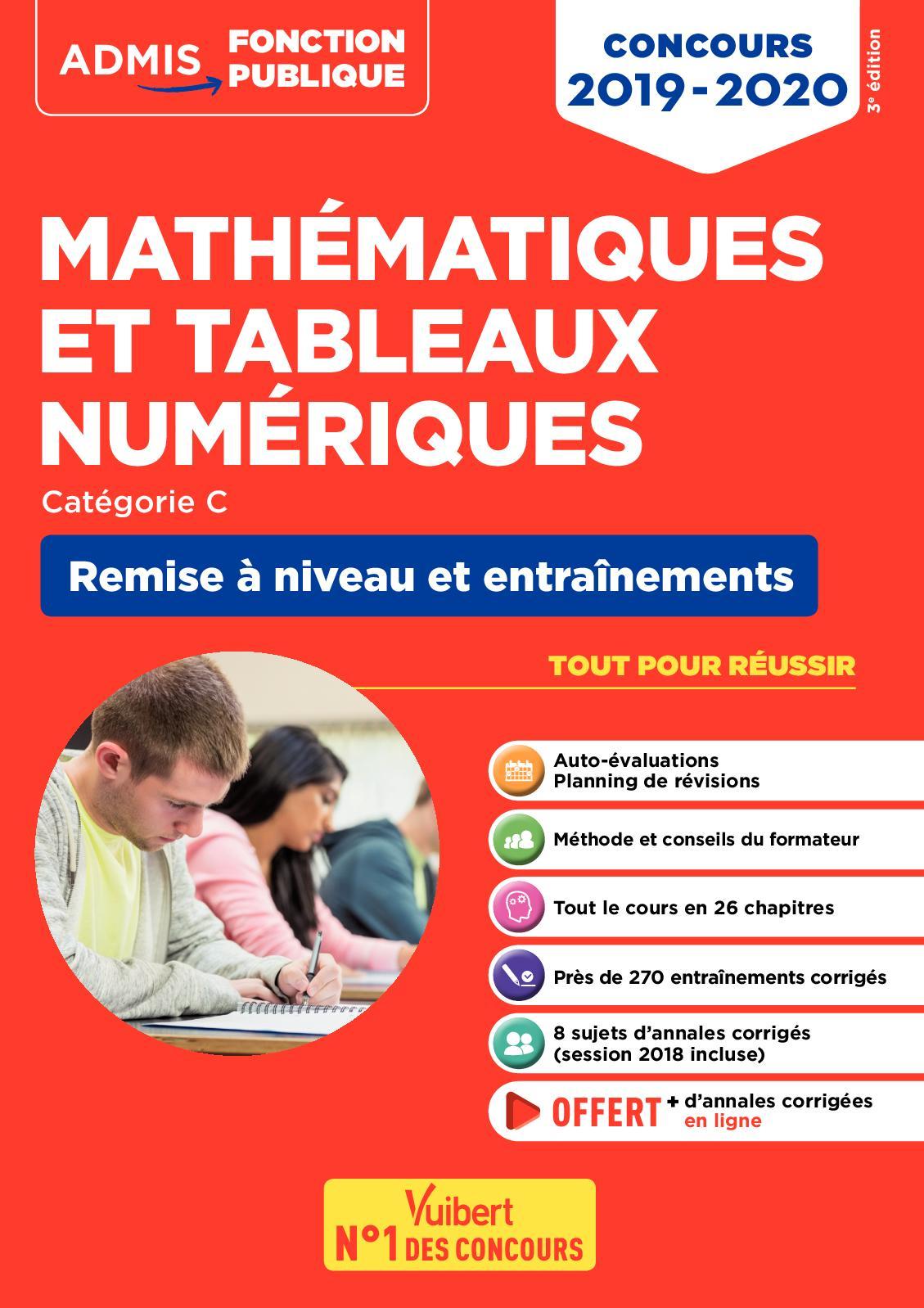 Mathématiques et tableaux numériques - Remise à niveau et entraînement - Catégorie C