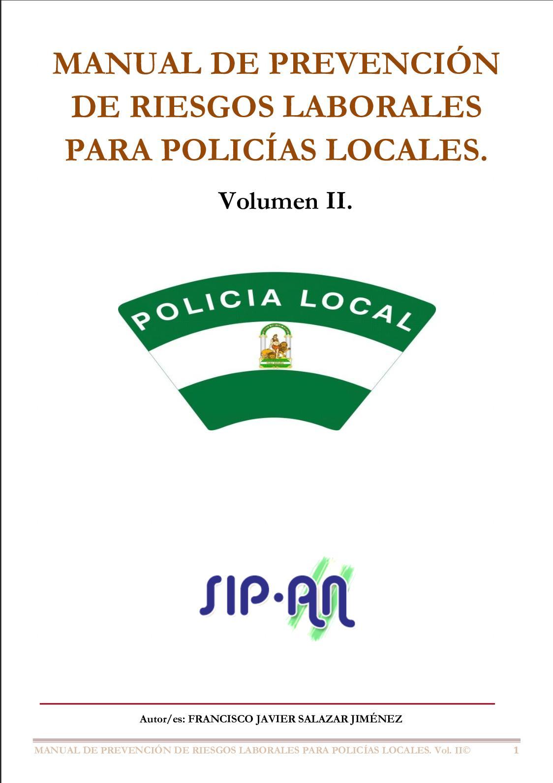 391 Manual De Prevención De Riesgos Laborales Para Policías Locales Vol Ii