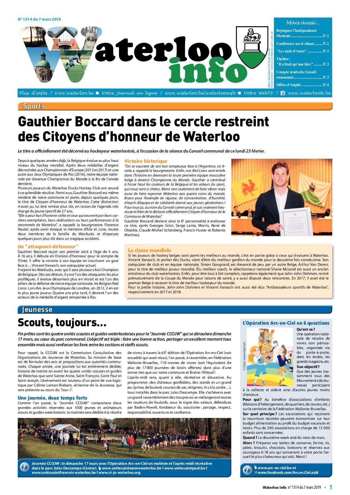Waterloo Info n°1514 du 7 mars 2019