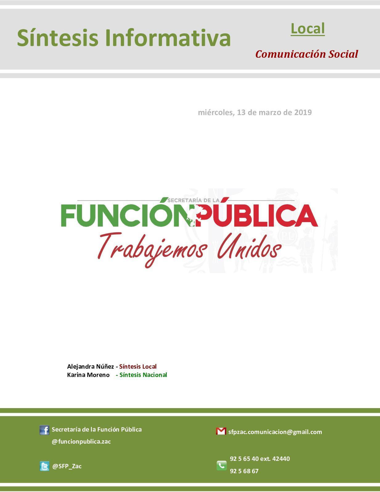 Síntesis Local-Nacional de Comunicación Social de la SFP 13-03-2019